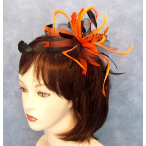 Black and Orange Fascinator Allison - FAS455