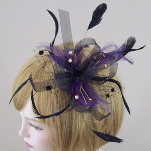 Black and Purple Fascinator Delia - FCC018