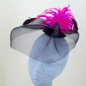 Hot Pink and Black Fascinator Nicola - FAS072