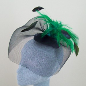 Emerald Green and Black Fascinator Orlagh - FAS075