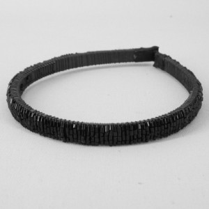 Black Sparkle Hairband with Bugle Beads - BAN016