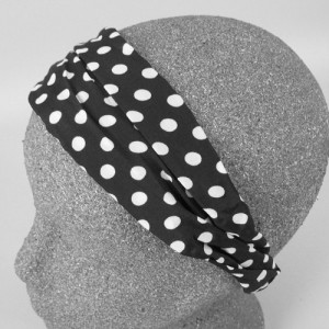 Chiffon Headband Black and White Spot - BAN007