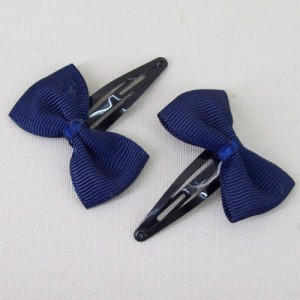 Grosgrain Bow Hair Clips Navy Blue - CLI006