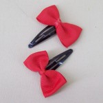 Grosgrain Bow Hair Clips Red - CLI005