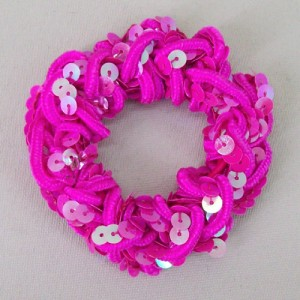 Hot Pink Sequin Hair Scrunchies - SCR005