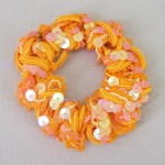 Orange Sequin Hair Scrunchies - SCR006