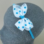 Polka Dot Bow Headband Blue - BAN022