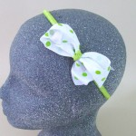 Polka Dot Bow Headband Lime Green - BAN019