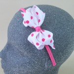 Polka Dot Bow Headband Pink - BAN020