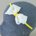 Polka Dot Bow Headband Yellow - BAN021