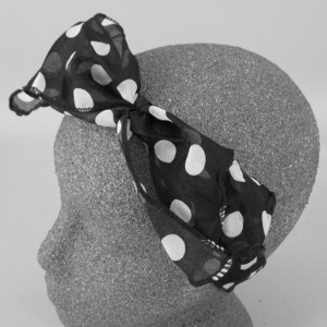 Chiffon Headwrap Black and White Spot - BAN011