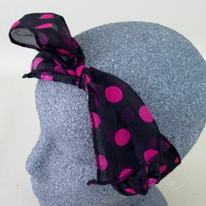 Chiffon Headwrap Black and Hot Pink Spot - BAN013