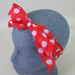 Chiffon Headwrap Red and White Spot - BAN010