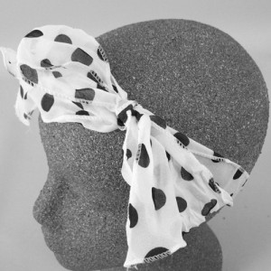 Chiffon Headwrap White and Black Spot - BAN015