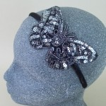 Sequin Butterfly Headband Silver - BAN025