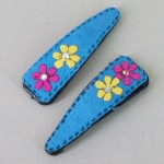 Suede Effect Hair Clips with Flowers Blue - CLI007