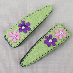 Suede Effect Hair Clips with Flowers Green - CLI010
