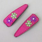 Suede Effect Hair Clips with Flowers Pink - CLI008