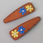 Suede Effect Hair Clips with Flowers Tan - CLI009