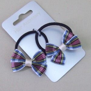 Tartan Hair Elastics 2 pack White and Blue - ELA008