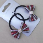Tartan Hair Elastics 2 pack White and Red - ELA007