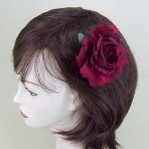 Burgundy Rose Hair Clip or Corsage - HRO002