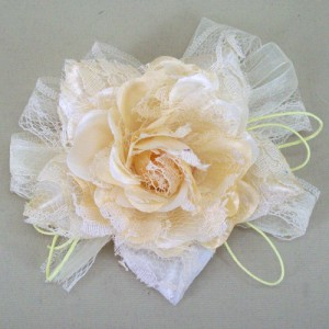 Buttermilk Vintage Ribbon and Lace Rose Hair Clip or Brooch - HFL051