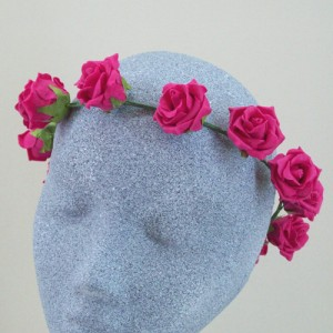 Cerise Pink Rose Flower Crowns - HFL096