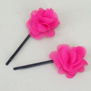 Childrens Flower Hair Grips (2 pack) Hot Pink Chiffon - HFL143