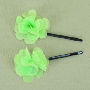 Childrens Flower Hair Grips (2 pack) Lime Green Chiffon - HFL144