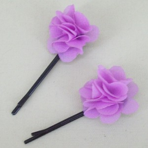 Childrens Flower Hair Grips (2 pack) Mauve Chiffon - HFL140