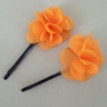 Childrens Flower Hair Grips (2 pack) Tangerine Orange Chiffon - HFL145