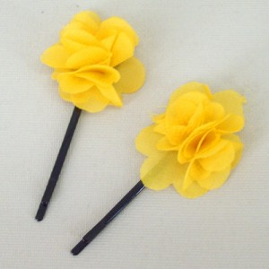 Childrens Flower Hair Grips (2 pack) Yellow Chiffon - HFL141