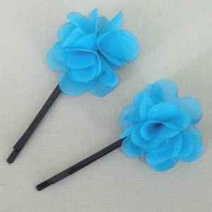 Childrens Flower Hair Grips (2 pack) Turquoise Chiffon - HFL142