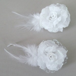 Gossamer Rose and Feather Hair Clip HFL211
