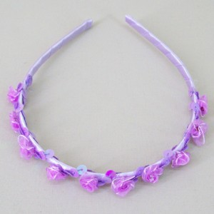 Childs Rose and Sequin Headband Mauve Purple - HFL206
