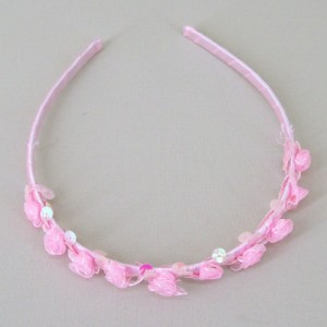 Childs Rose and Sequin Headband Pink - HFL204