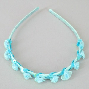 Childs Rose and Sequin Headband Turquoise Blue - HFL204