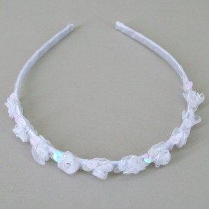 Childs Rose and Sequin Headband White - HFL203