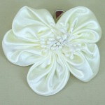 Cream Satin Flower Hair Clip - HFL040