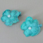 Glitter Flower Hair Clips x 2 Aqua - HFL201