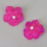 Glitter Flower Hair Clips x 2 Hot Pink - HFL198