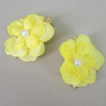 Glitter Flower Hair Clips x 2 Lemon - HFL196