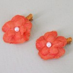 Glitter Flower Hair Clips x 2 Orange - HFL199