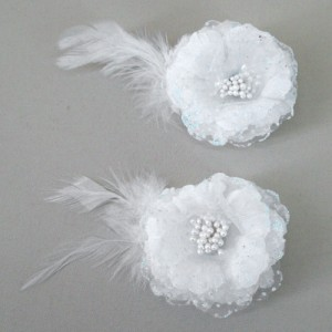 Gossamer Flower and Feather Hair Clip HFL212