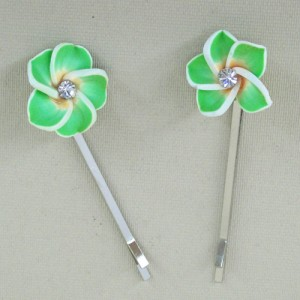 Green Polymer Flower Hair Grips x 2 - PHF002