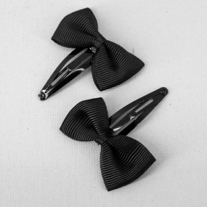 Grosgrain Ribbon Bow Hair Clips Black - CLI004