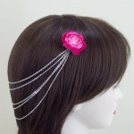 Hot Pink Flower Hair Chain - HFL172