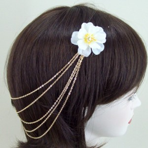 Ivory Blossom and Sparkle Hair Chains - HFL173
