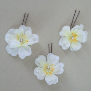 Ivory Blossom and Sparkle Hair Pins - HFL068
